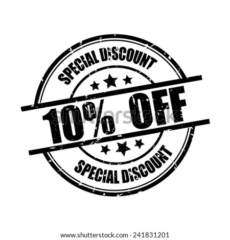 Special discount 10% off black grunge rubber stamp on white background. - stock photo