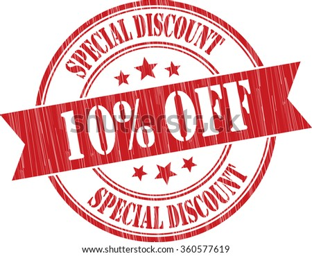 Special discount 10% off red grunge stamp. - stock photo