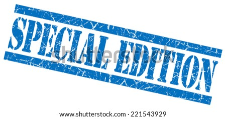 special edition blue square grunge textured isolated stamp - stock photo