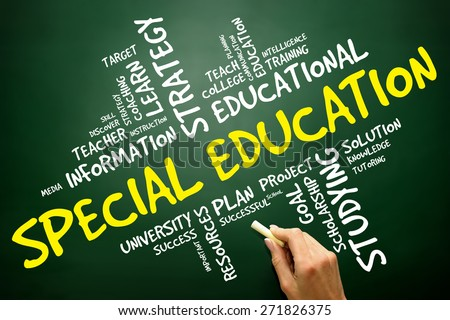 Special education word cloud,  concept on blackboard - stock photo