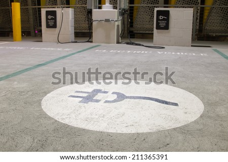 Special electric vehicle charging spot in California.  - stock photo