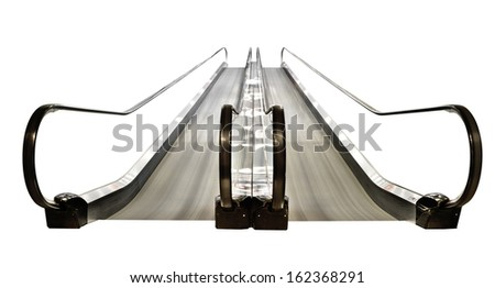 Special escalator in modern mall for people with supermarket carts and disabled people  - stock photo