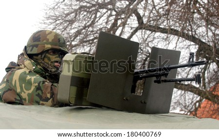 Special force masked army soldier - stock photo
