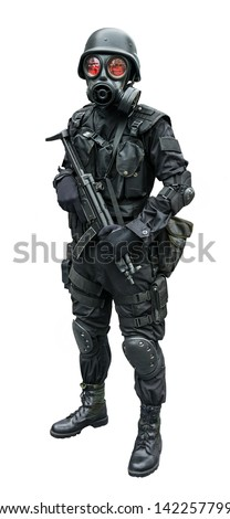 Special force soldier wearing gask mask standing in isolation background   - stock photo