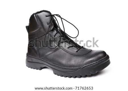 Special forces`s boot isolated on white.