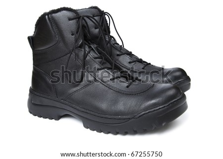 Special forces`s boots isolated on white.