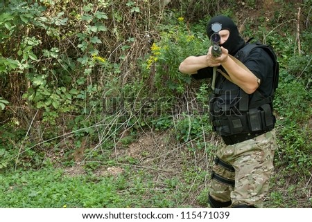 Special Forces soldier, armed terrorist, sniper - stock photo