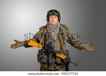 "Special forces soldier gesturing ""don't know"""