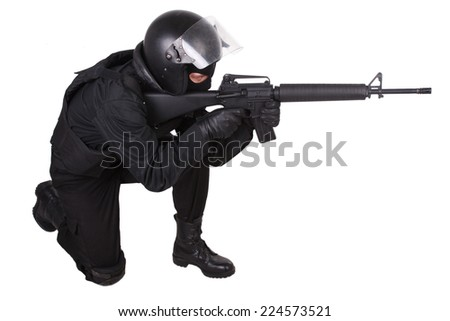 special forces soldier in black uniform isolated on white