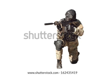 Special Forces soldier, with assault rifle, police swat, isolated on white