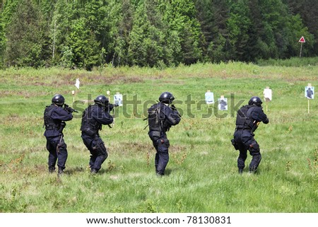 Special Forces tactical exercises - stock photo
