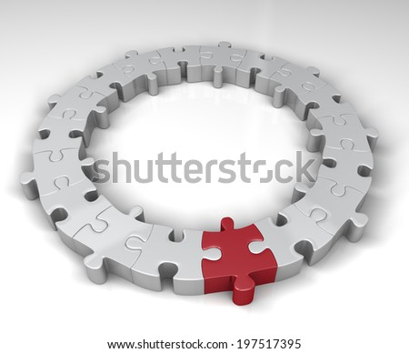 Special link in the jigsaw circle - stock photo