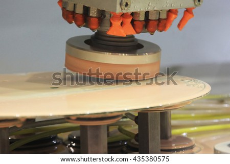 Special machine for polishing glass and ceramic plates - stock photo