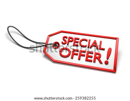 Special offer badge. White sticker with red border and string attached, isolated on white - stock photo