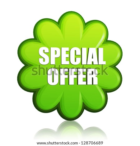 special offer banner - 3d spring green flower label with white text, business concept