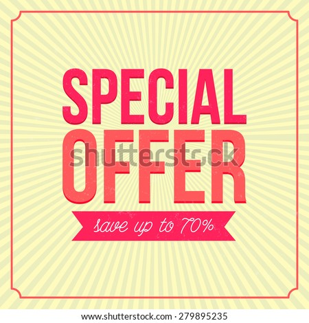 Special offer banner, save up to 70. Vintage style advertising. - stock photo