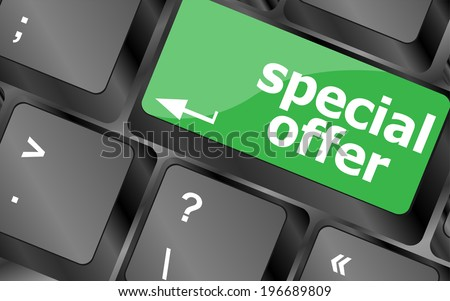 special offer button on computer keyboard keys, keyboard button - stock photo
