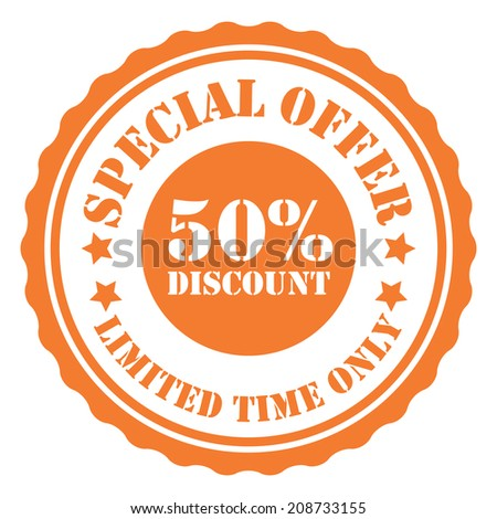 Special Offer 50 Percent Discount Limited Time Only on Orange Vintage Badge, Icon, Button, Label Isolated on White - stock photo