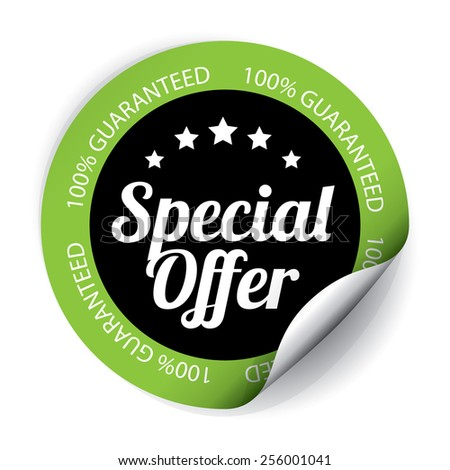 Special Offer Sticker and Tag on Black color - Green