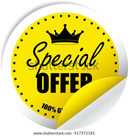 Special Offer Yellow Label, Sticker, Tag, Sign And Icon Banner Business Concept, Design Modern. - stock photo