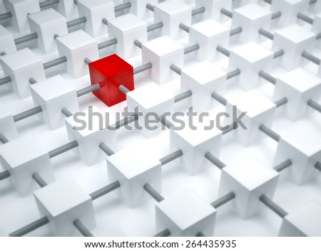 Special one concept, individual element, in the grid with red tones. - stock photo