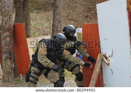 special police unit in training - stock photo