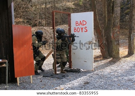 special police unit in training, bad boys - stock photo