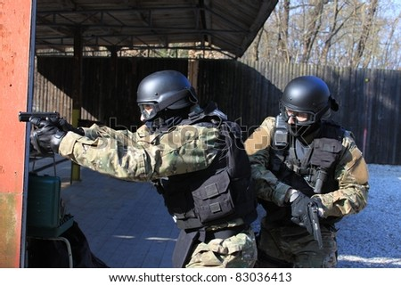special police unit in training shooting - stock photo