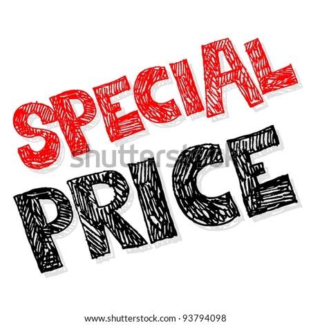 special price, crazy doodle - stock photo