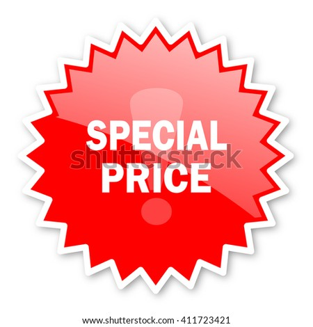 special price red tag, sticker, label, star, stamp, banner, advertising, badge, emblem, web icon - stock photo