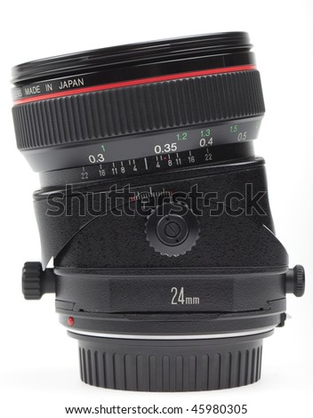 special-purpose tilt-shift lens in maximum tilt position. Used mainly for architectural photography. - stock photo