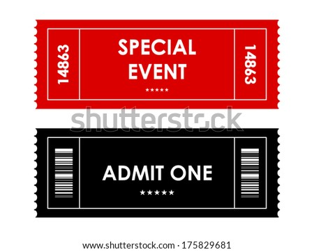 special red-black event ticket - stock photo