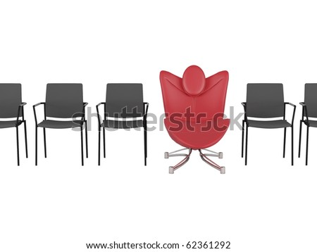 Special red comfortable office armchair between ordinary seats, render/illustration - stock photo
