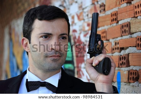 Special-service agent or body guard with 357 gun - stock photo
