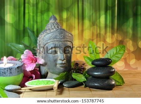 Special stones massage treatments with herbs - stock photo