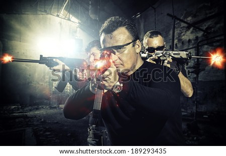 special tactics team in action - stock photo