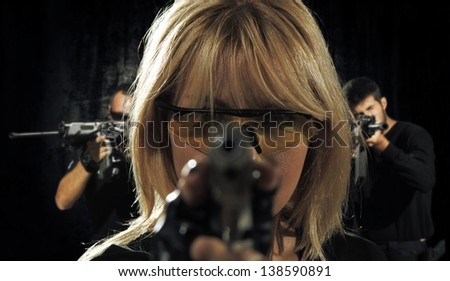 special tactics team ready for action - stock photo