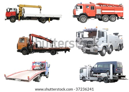 special trucks under the white background - stock photo
