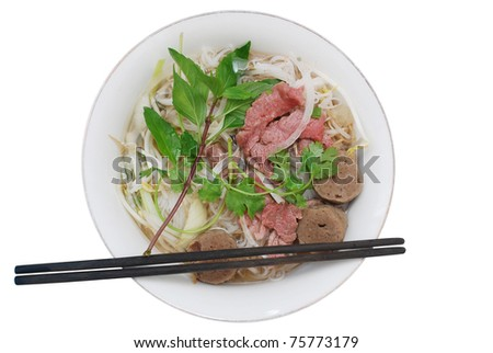 Special view: A beef bowl of noodles - stock photo