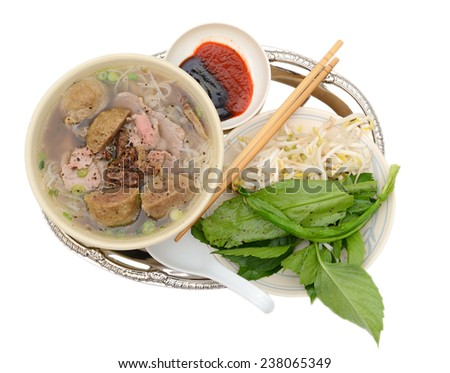 Special view: set of beef bowl of noodles meal - stock photo