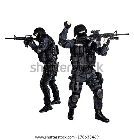 Special weapons and tactics team in action - stock photo