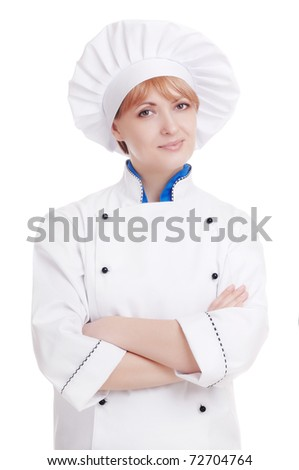 Specialist chef woman with crossed hands on white - stock photo