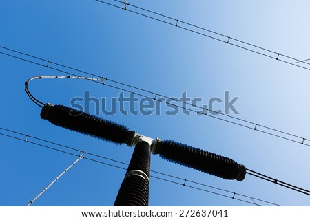 Specialist electrical surge arrester/surge protection device (SPD)/transient voltage surge suppressor (TVSS) in a converter station, installed to protect electrical equipment from over-voltage.  - stock photo