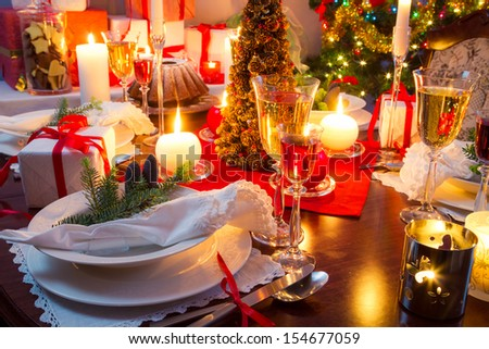 Specially decorated christmas table - stock photo