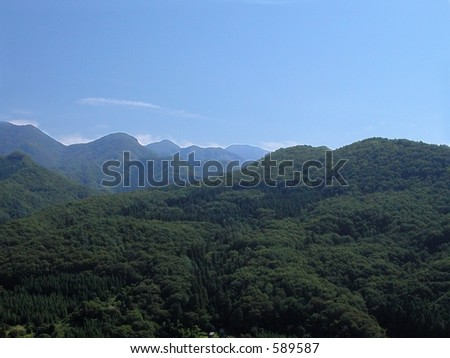 Specific landscape for Japanese mountains(a lot of forest no rocks).Yamadera region-Myagi