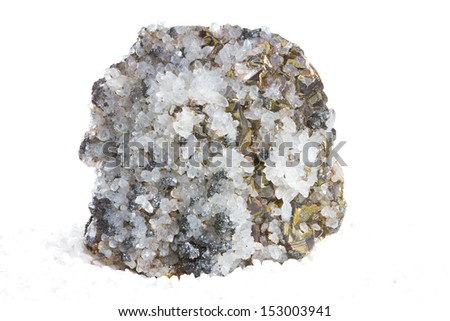 Specimen of white calcite crystals and metallic brass-yellow iron pyrites, or fools gold, an abundant mineral mined as an iron ore and also used to produce sulphur dioxde for making sulphuric acid - stock photo