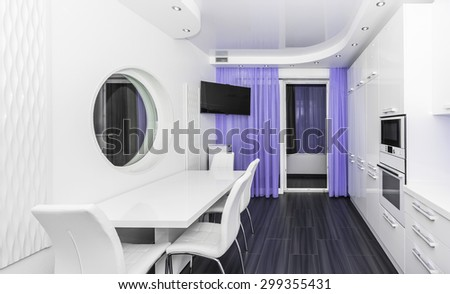 Specious modern white lilac interior kitchen-dining room with the built-in household appliances and the TV - stock photo