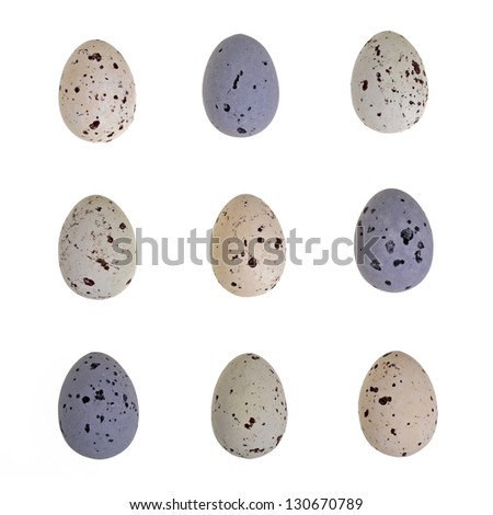 Speckled chocolate Easter eggs isolated on white. Tic Tac Toe formation. - stock photo