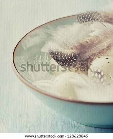 Speckled easter eggs and feathers in a bowl - stock photo