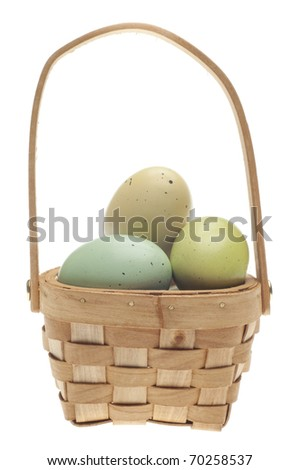 Speckled Easter Eggs in a Basket Isolated on White with a Clipping Path. - stock photo